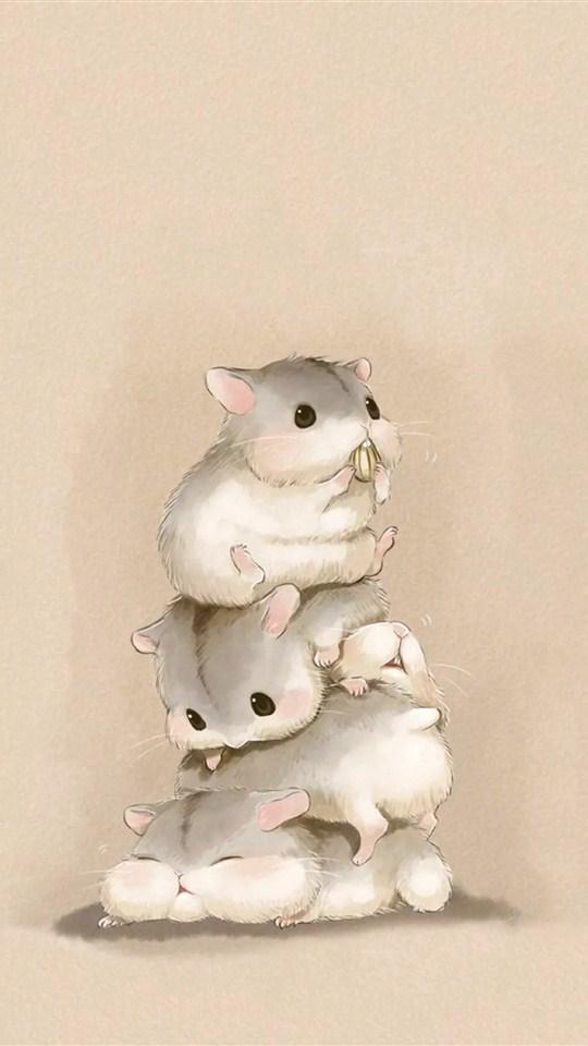 Cute Cartoon Animal Wallpaper 可爱小仓鼠手绘图片手机壁纸 可爱 壁纸下载 美桌网