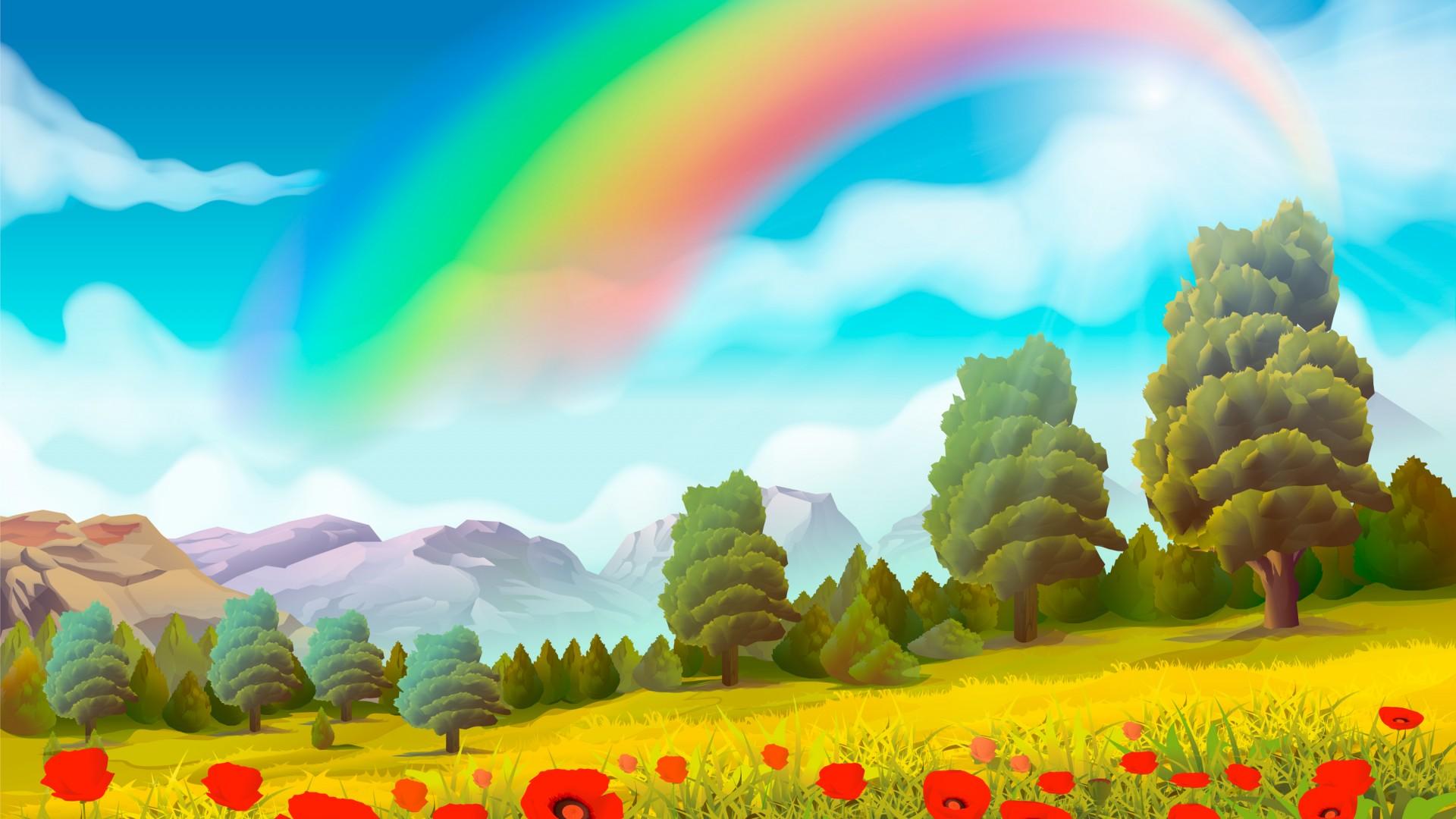 Cute Country Wallpaper 彩虹罂粟花绘画风景桌面壁纸 风景壁纸 壁纸下载 美桌网