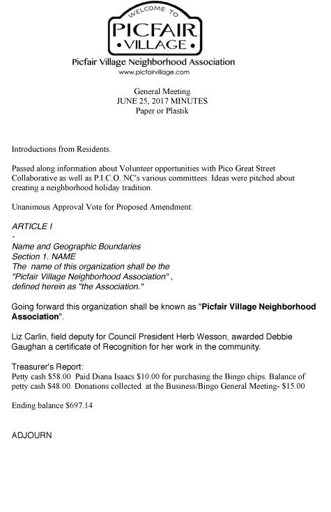 PVNA General Meeting Minutes June 2017 \u2013 Picfair Village