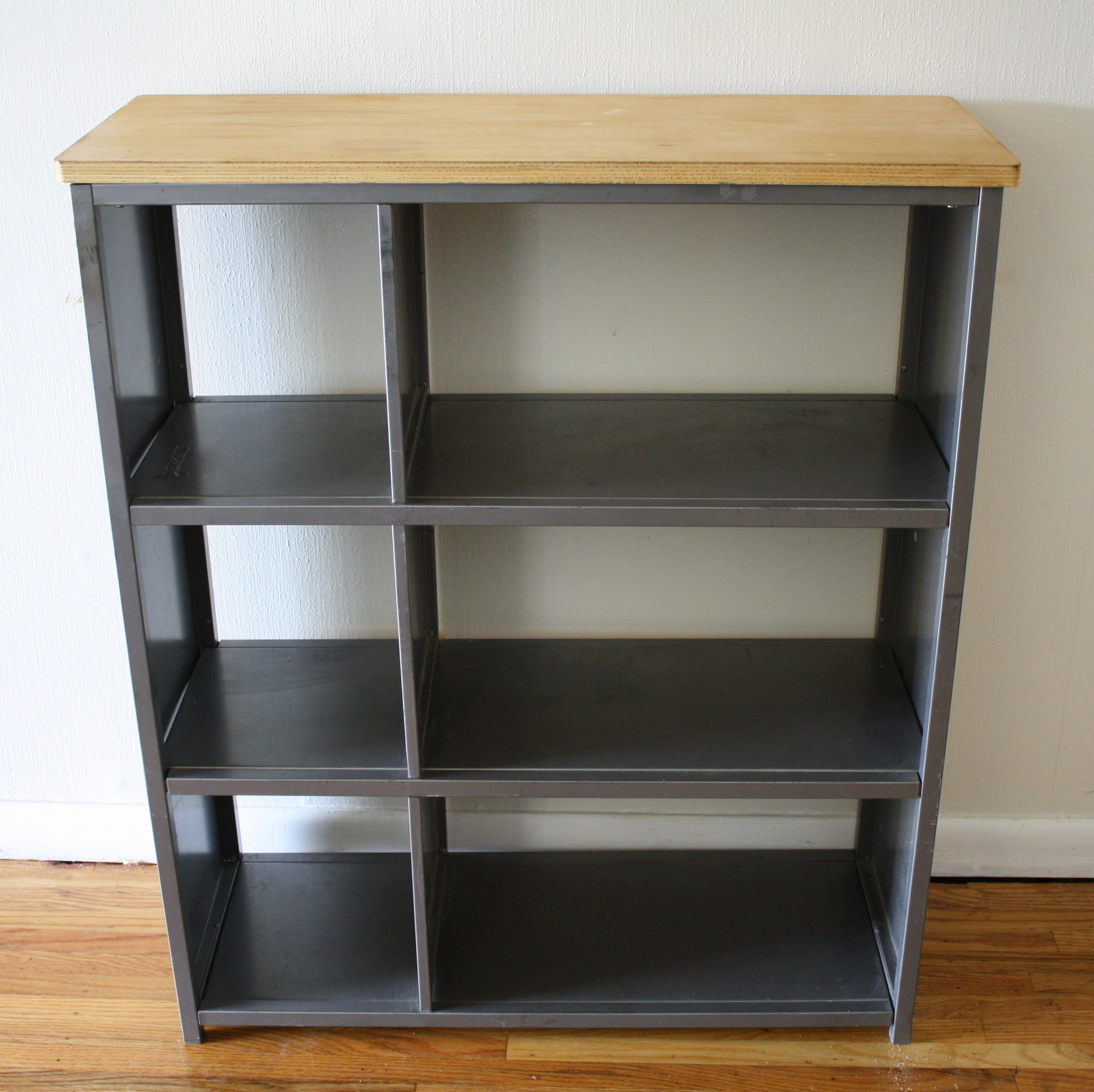 Aluminum Bookcase Industrial Metal Bookcase Shelf With Wood Top Picked Vintage