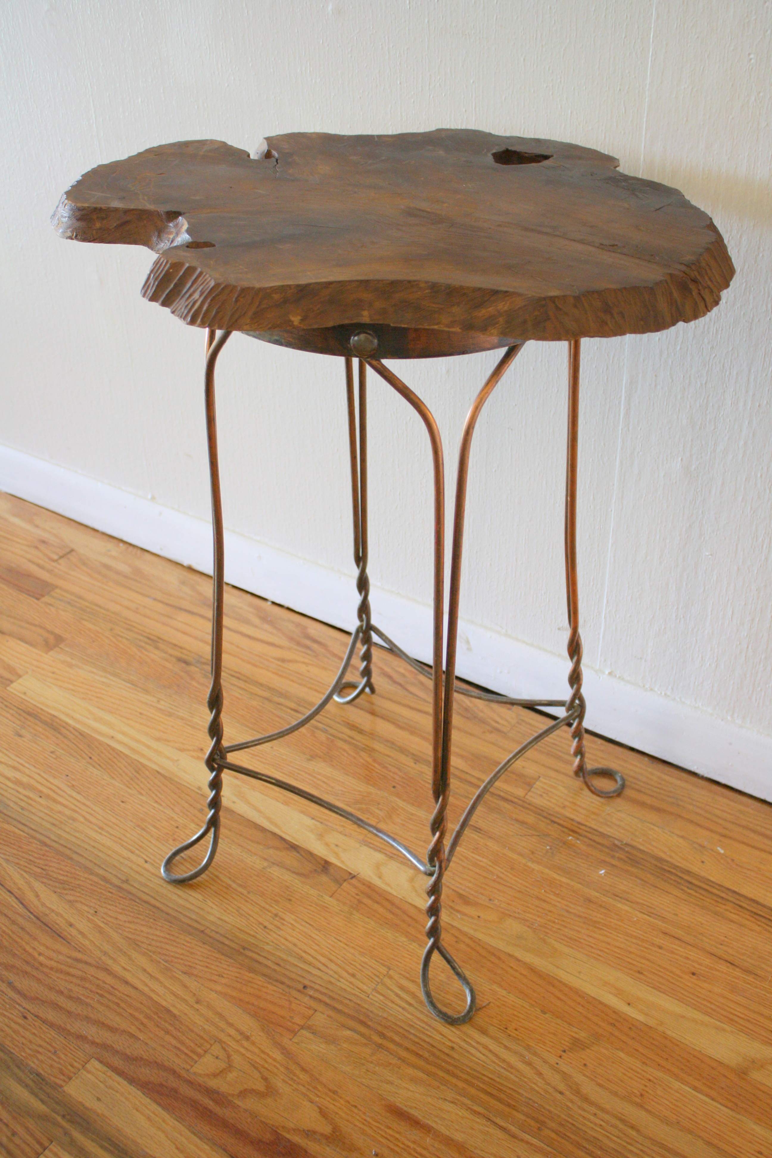 End Tables With Metal Legs Vintage Industrial Side Table Wood Slab On Steel Legs