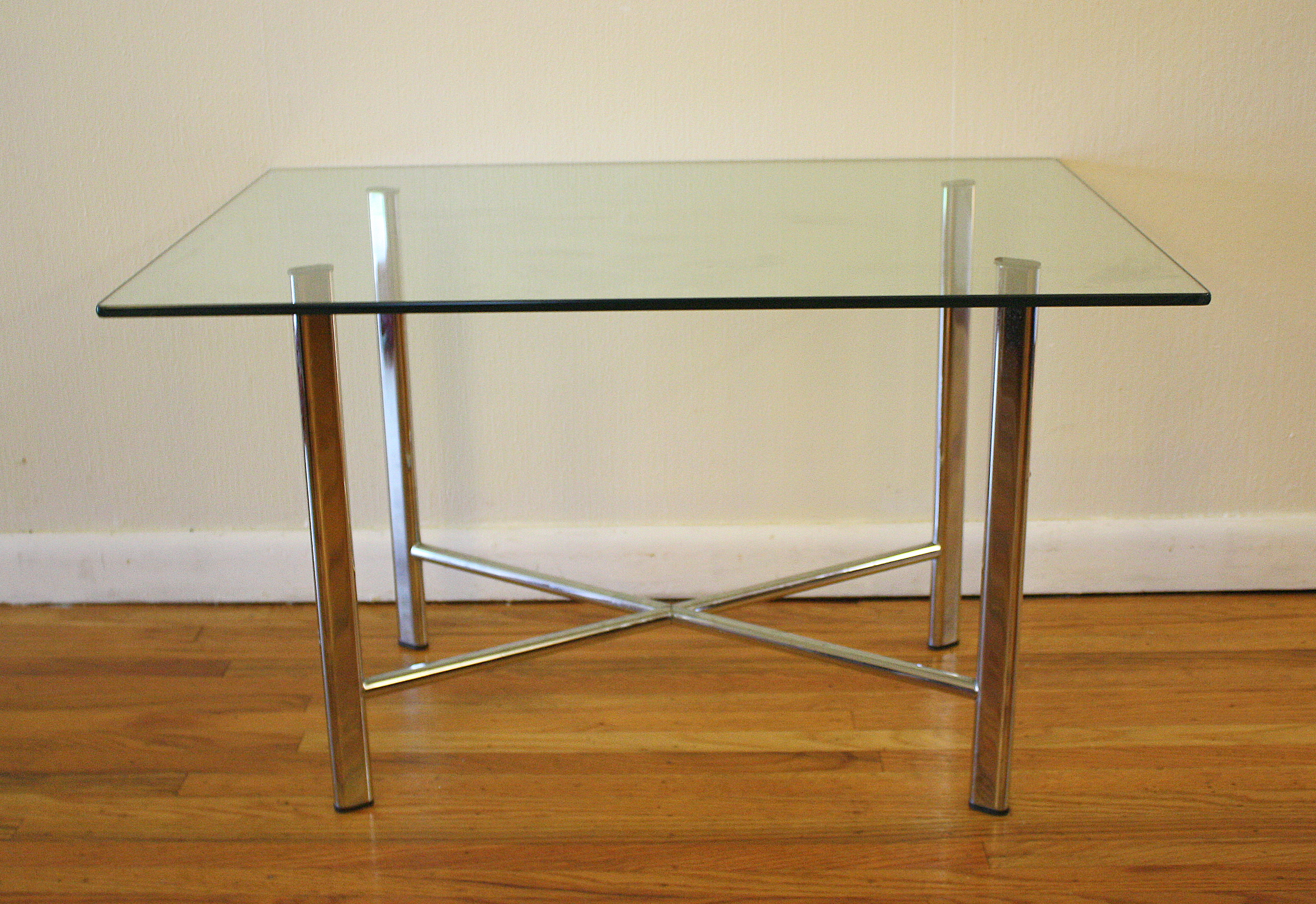 Design Bijzettafel Glas Mid Century Modern Glass And Chrome Tables | Picked Vintage