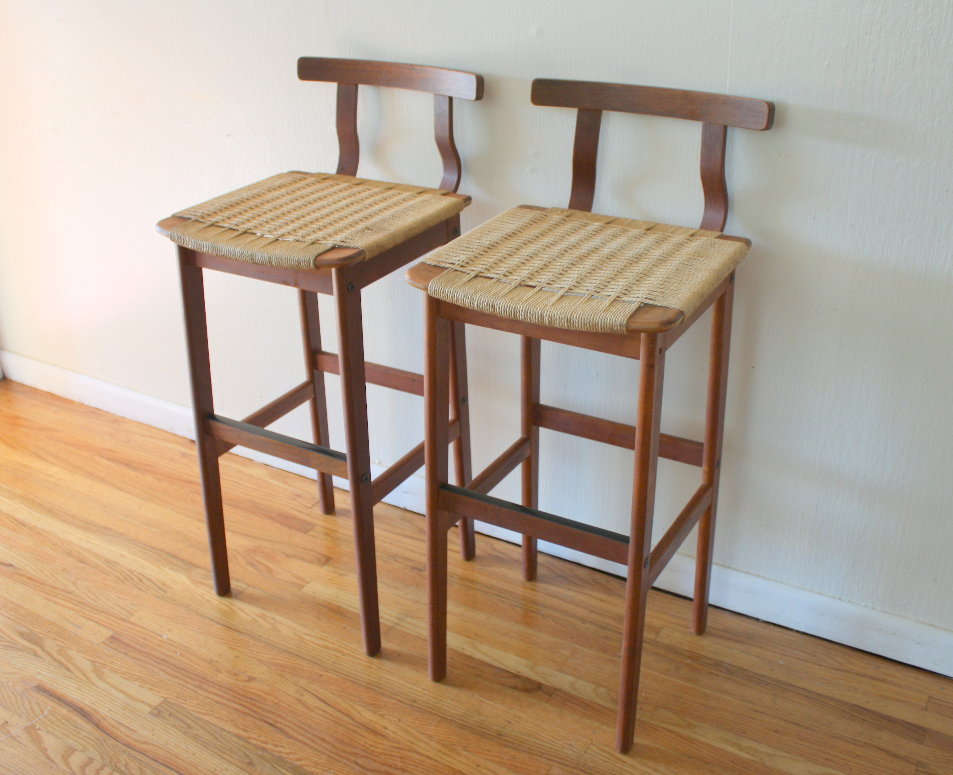 Modern Wood Counter Stool Mid Century Modern Danish Rope Stools Picked Vintage