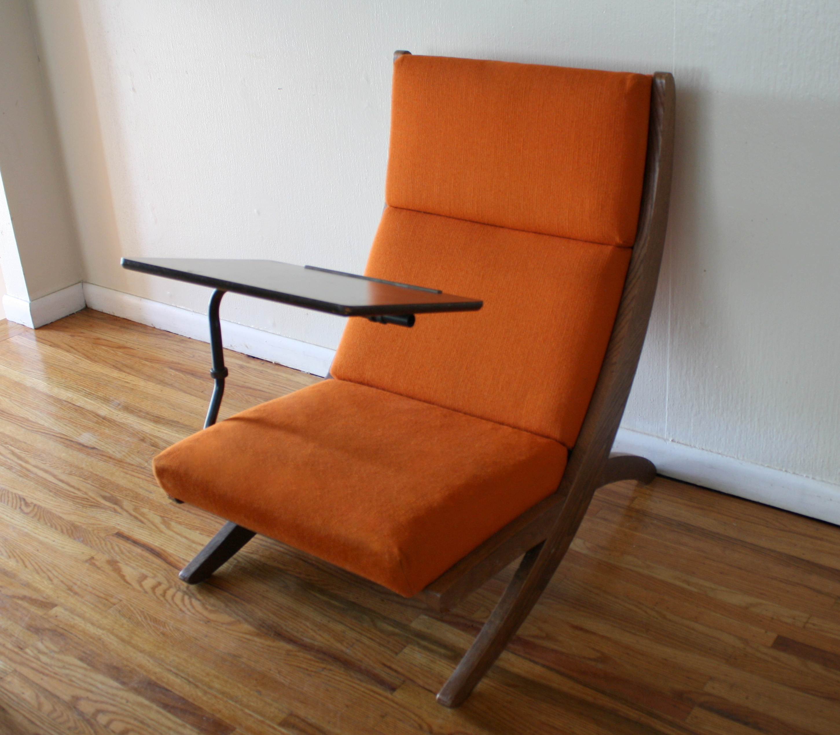 Lounge Desk Chair Mcm Orange Chair With Detachable Writing Desk 2 Picked