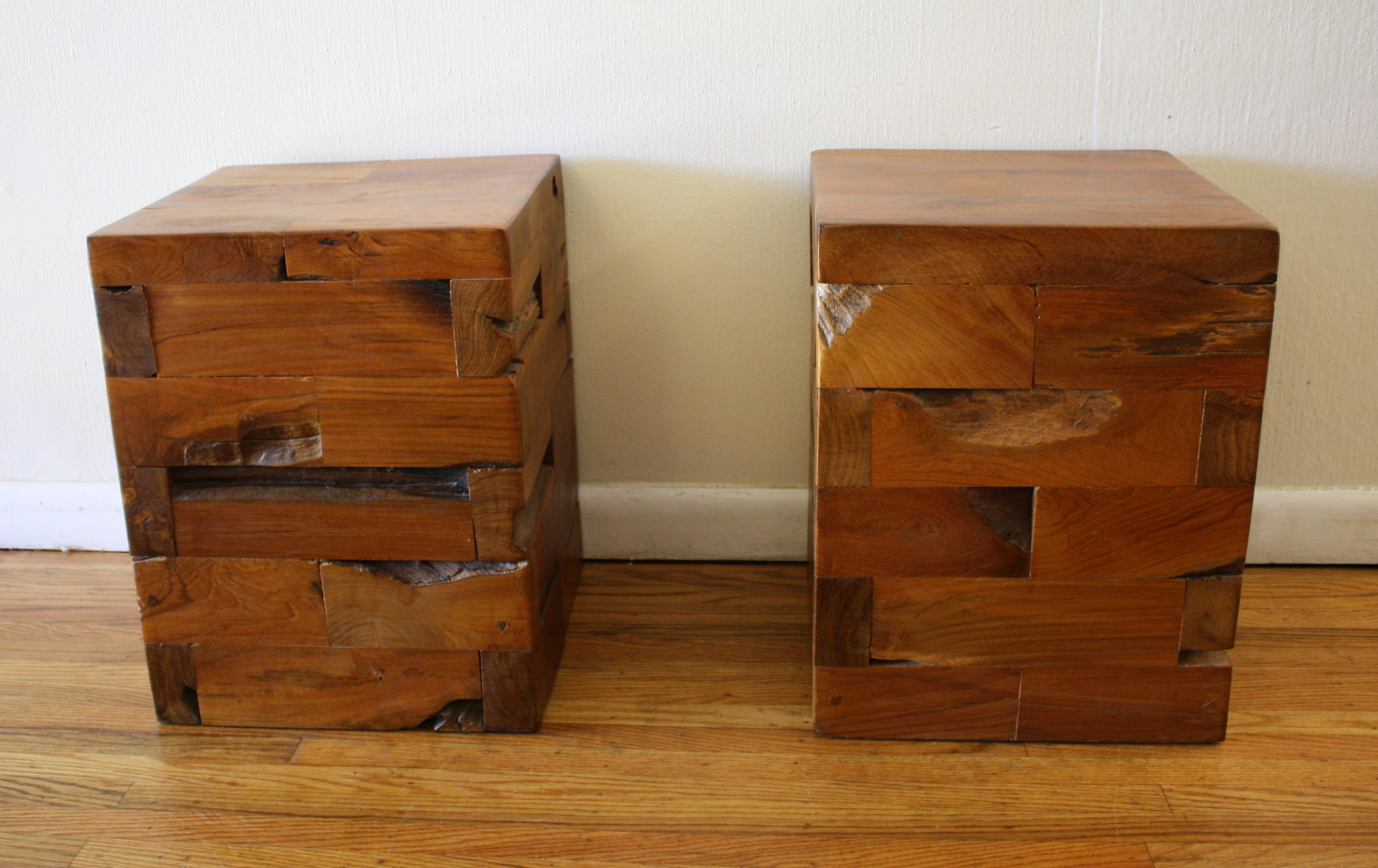 Wood Cube End Table Industrial Salvaged Wood Side End Tables Picked Vintage
