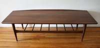 Mid Century Modern Surfboard Coffee Table with Slatted
