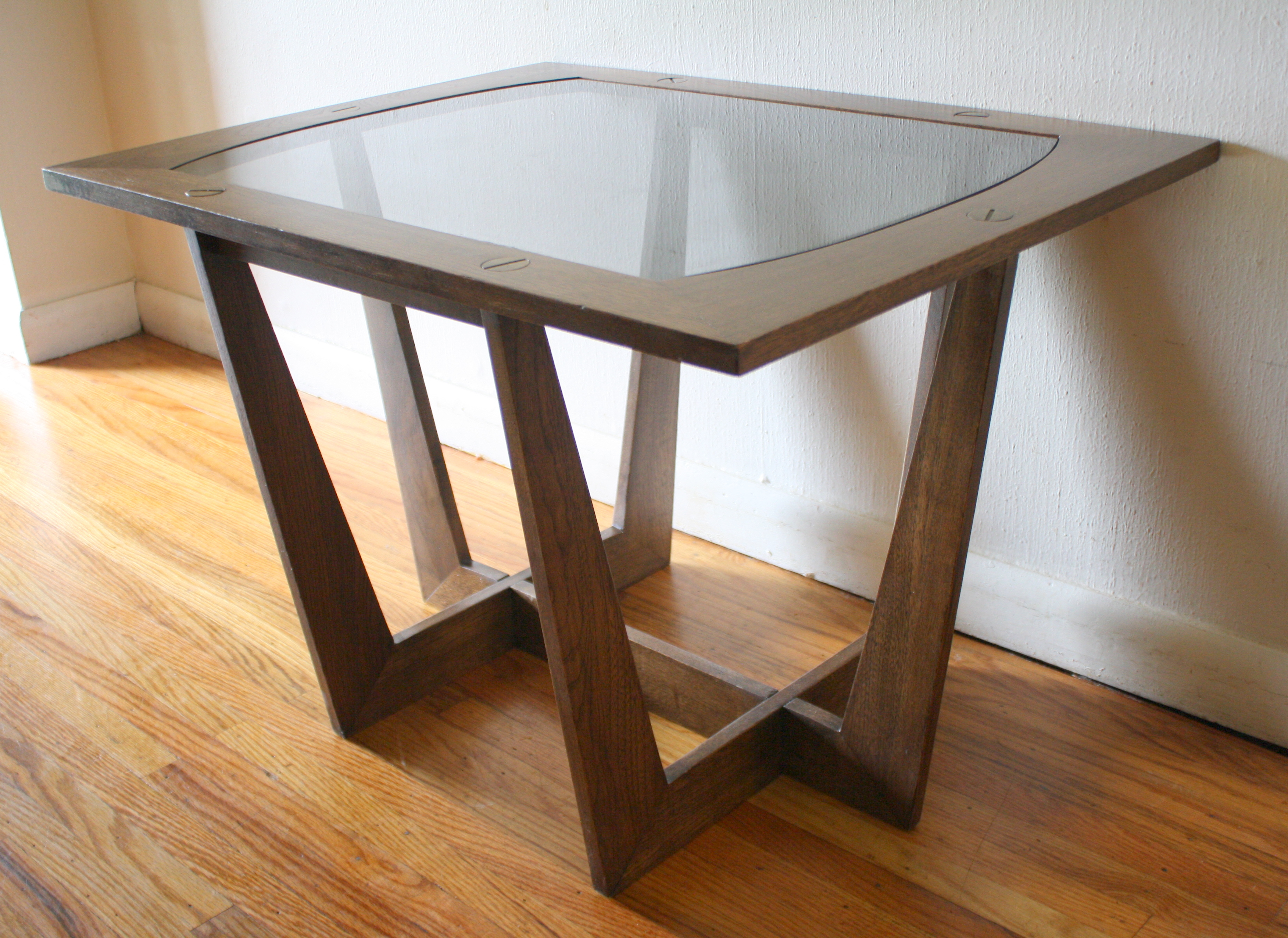 Glass End Table Top Mid Century Modern Sculpted Side End Tables With Glass
