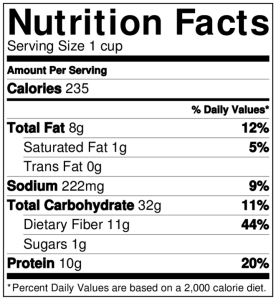 NutritionLabel-Mexican Quinoa Bowl