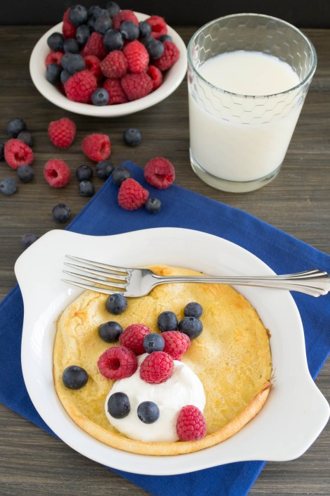Puff Pancake...Bake whole wheat pancakes for an easy breakfast. I top these with greek yogurt and berries and they are delicious! | Pick Fresh Foods