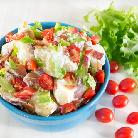 This BLT Potato Salad is so delicious! It is a combination of creamy red potatoes, crisp bacon, sweet tomatoes, and garden fresh lettuce.  Pick Fresh Foods
