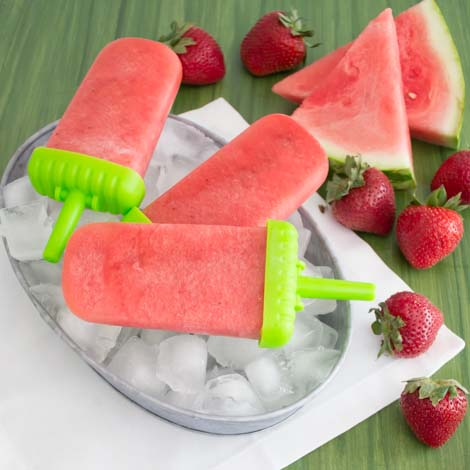 Strawberries and watermelon make the perfect healthy popsicle.