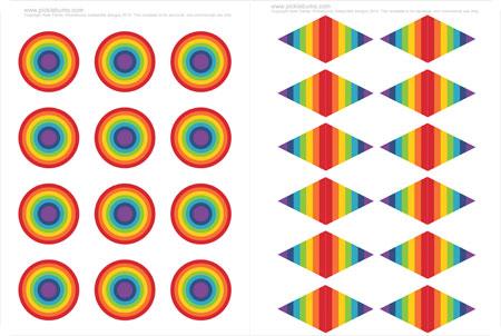 Printable Rainbow Cupcake Toppers - Picklebums