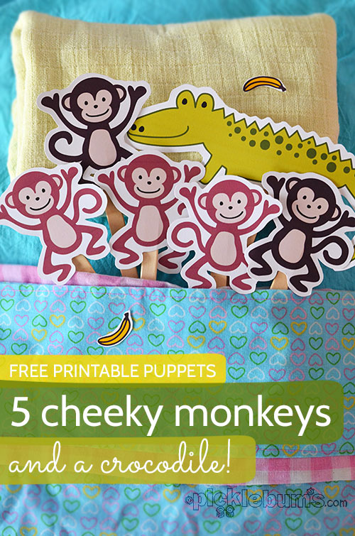 Printable Puppets - Five Cheeky Monkeys and a Crocodile! - Picklebums