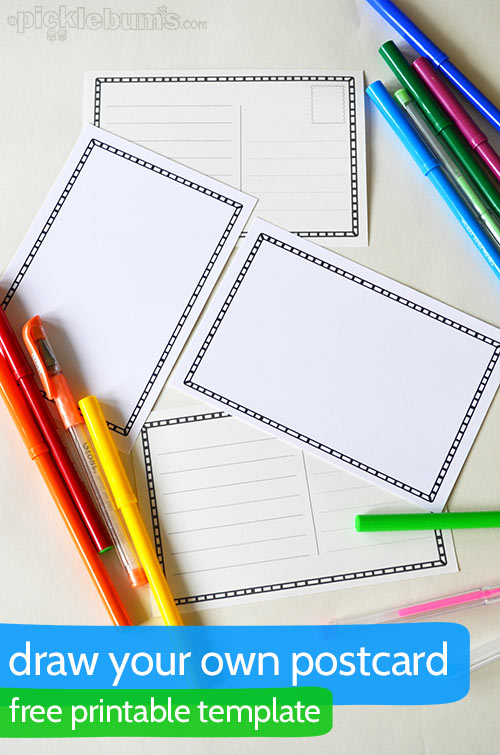 Draw Your Own Postcard - Picklebums - free printable postcard templates