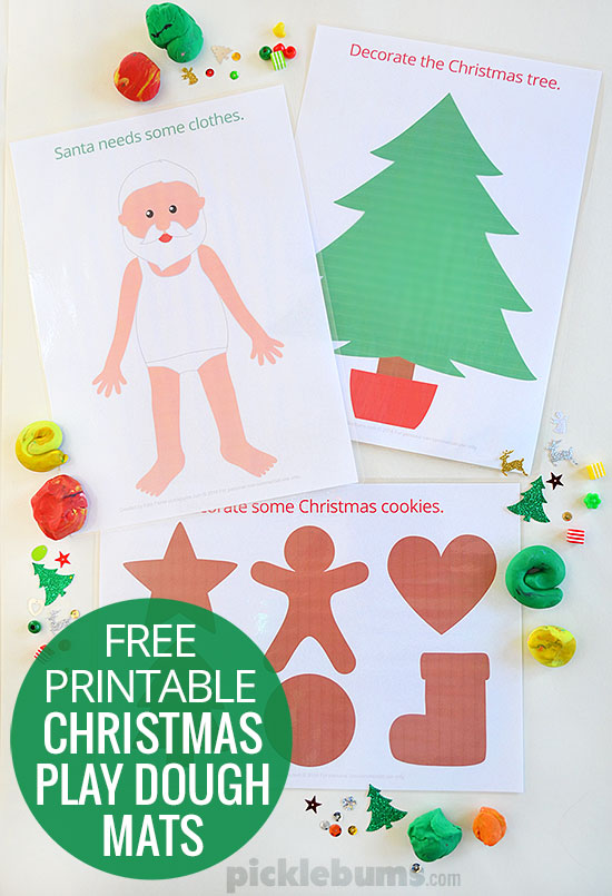 Free Printable Christmas Play Dough Mats - Picklebums