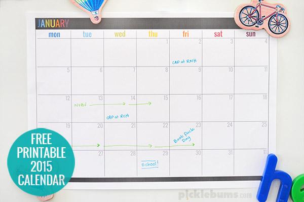 2015 Free Printable Calendar - Picklebums