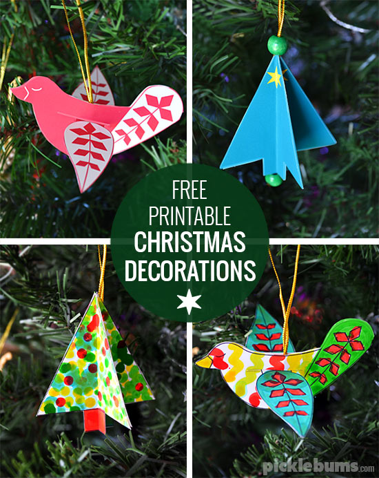 Free Printable Christmas Decorations Dove And Tree