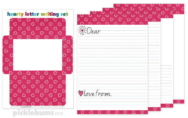 Free Printable Valentines Letter Writing Set - Picklebums - printable letter paper with lines