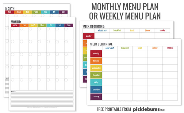 Simple Tips for Meal Planning - Picklebums - basic meal planner