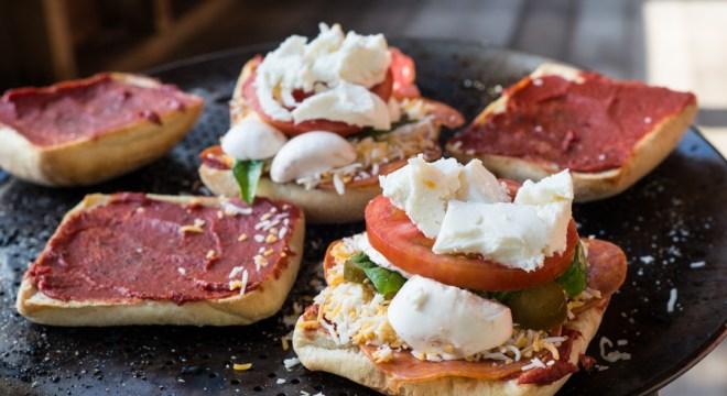 Ciabatta Pizza topped with Mozarella