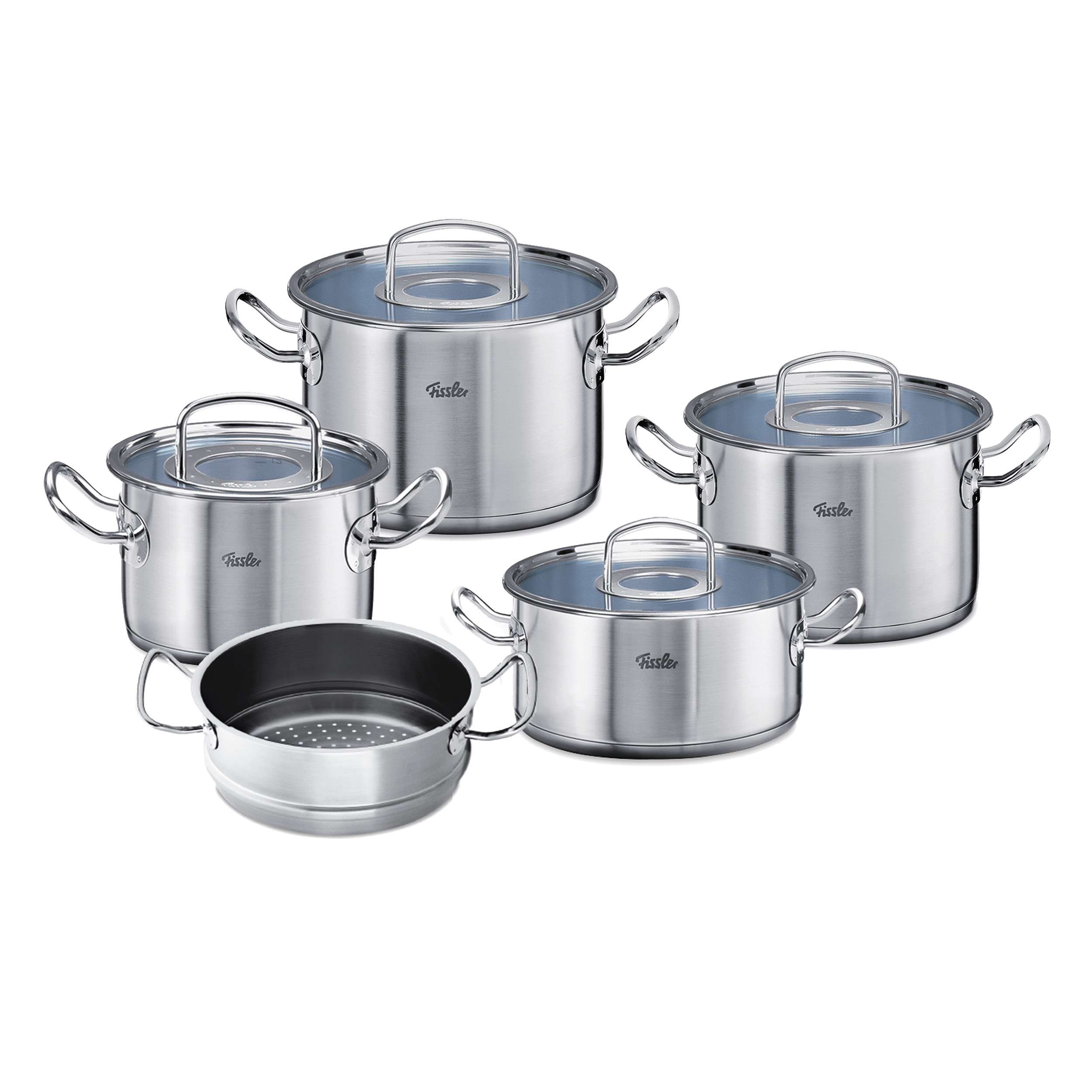 Fissler Original Profi Collection Pot Set With Glass Lid Stewing Pan Cooking Pot Steamer Insert Stainless Steel 5 Part At About Tea De Shop