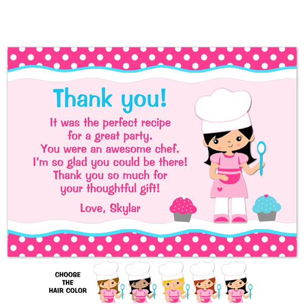 Cooking Thank You - Birthday Thank You - Printed Party