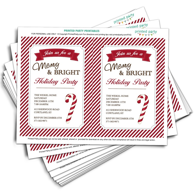 Printable Christmas Party Invitation Template Candy Cane Design