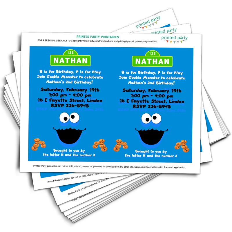 Printable Cookie Monster Inspired Party Invitations - Template