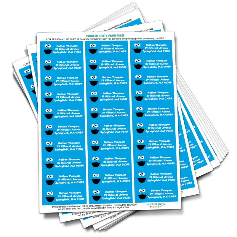 Cookie Monster Address Label - Party Favor- Printed Party