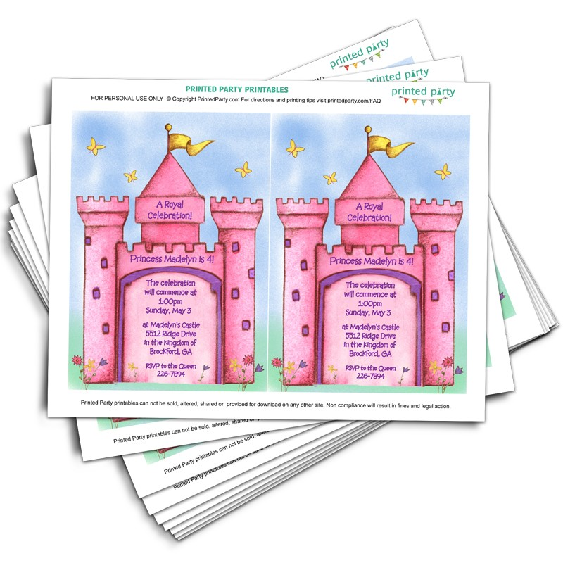 Printable Princess Castle Invitations - Template - Printed Party