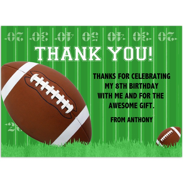 Football Thank You - Birthday Thank You- Printed Party