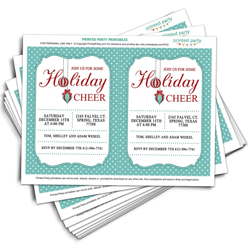 Printable Christmas Party Invitation Template Retro Design