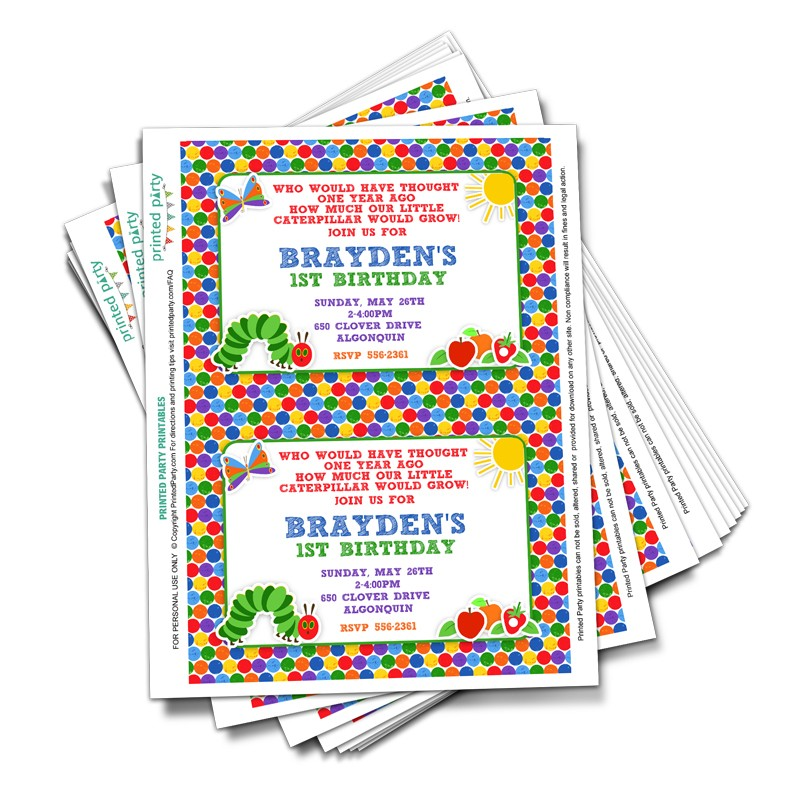 Printable Hungry Caterpillar Invitation - Party Invitation - Printed