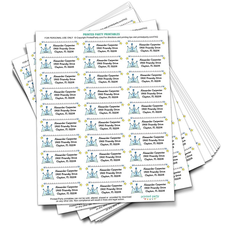 Prince Address Label - Party Favor- Printed Party - Address Label Template