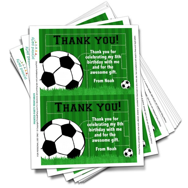 Soccer Thank You - Birthday Thank You - Printed Party