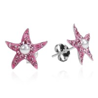Pink Cubic Zirconia Starfish Pearl Centered .925 Silver