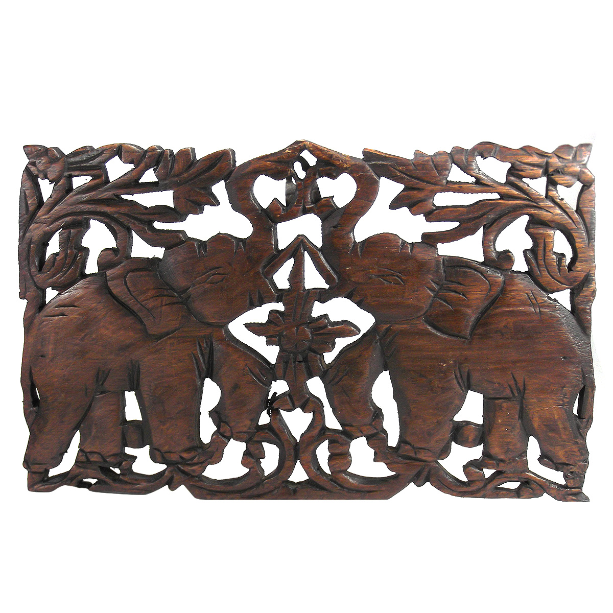 African Wooden Wall Art Jubilant Double Thai Elephant Calves Hand Carved Teak Wood