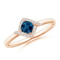 Cushion London Blue Topaz and Diamond Halo Promise Ring ...
