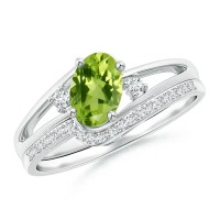 Oval Peridot and Diamond Wedding Band Ring Set | Angara