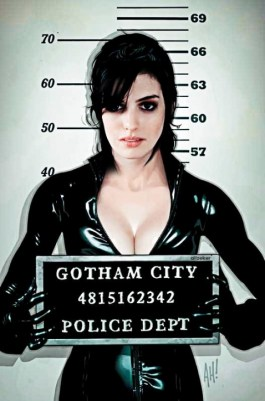 Anne Hathaway as Catwoman mug shot