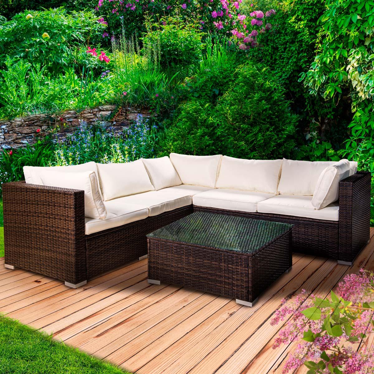 Polyrattan Lounge Sitzgruppe Sitzgarnitur Sofa Gartenmöbel Eck