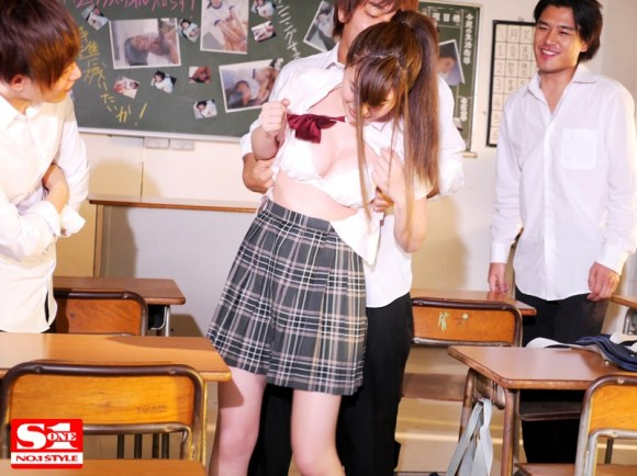 美竹すず 犯された巨乳女子校生 校内でぶっかけ輪姦された優等生サンプルイメージ6枚目