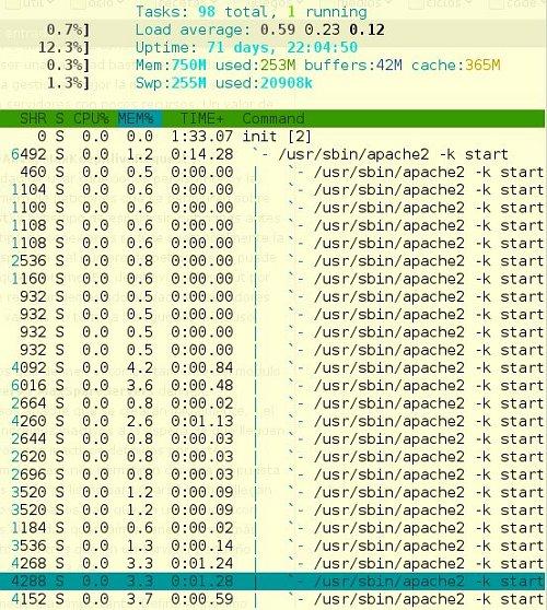 Vista de htop en un servidor apache que estamos monitorizando