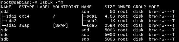 Comprobando la asignación de nombres de dispositivos a nuestros discos duros con lsblk