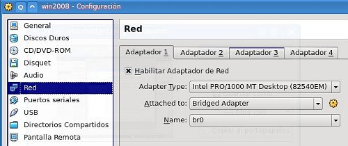 Virtualbox bridge en Fedora 11