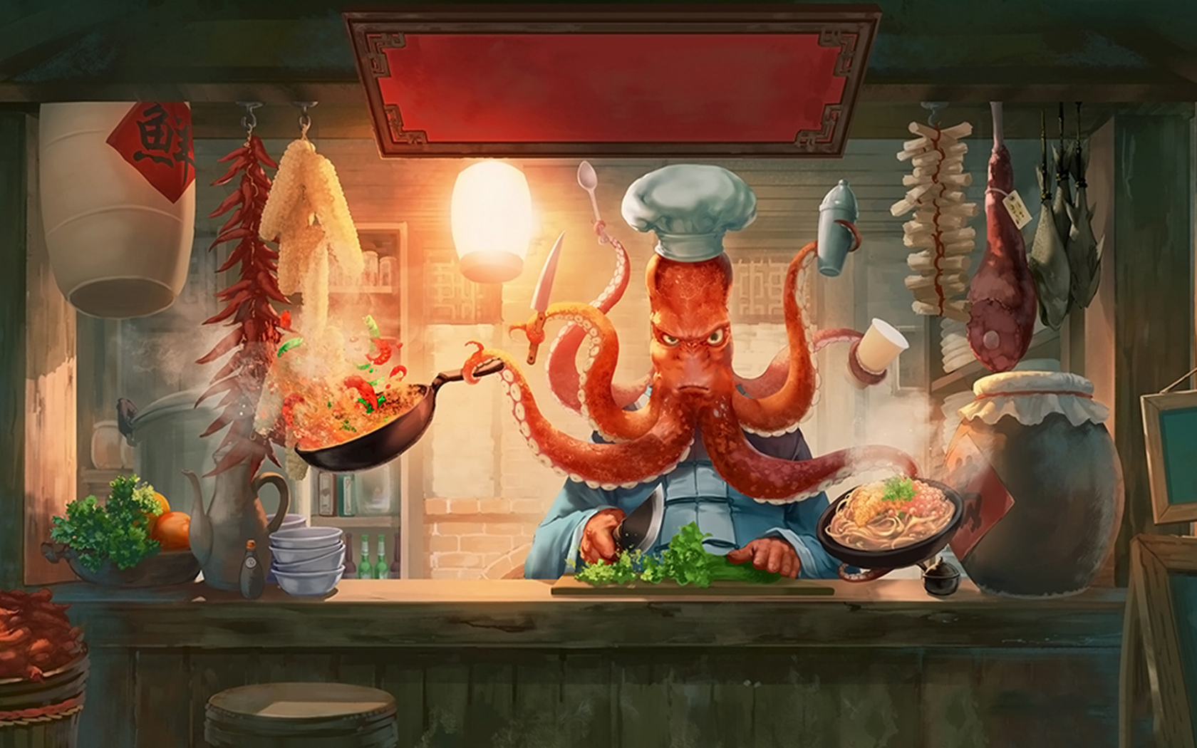 Desktop Wallpaper Humor Octopus Chef Hd Image Picture Background 026a92