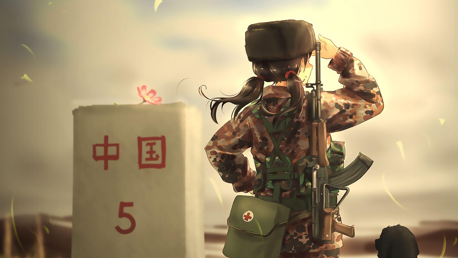 Hd Girl Gun Wallpapers 1080p Desktop Wallpaper Soldier Army Anime Girl Dog Hd Image