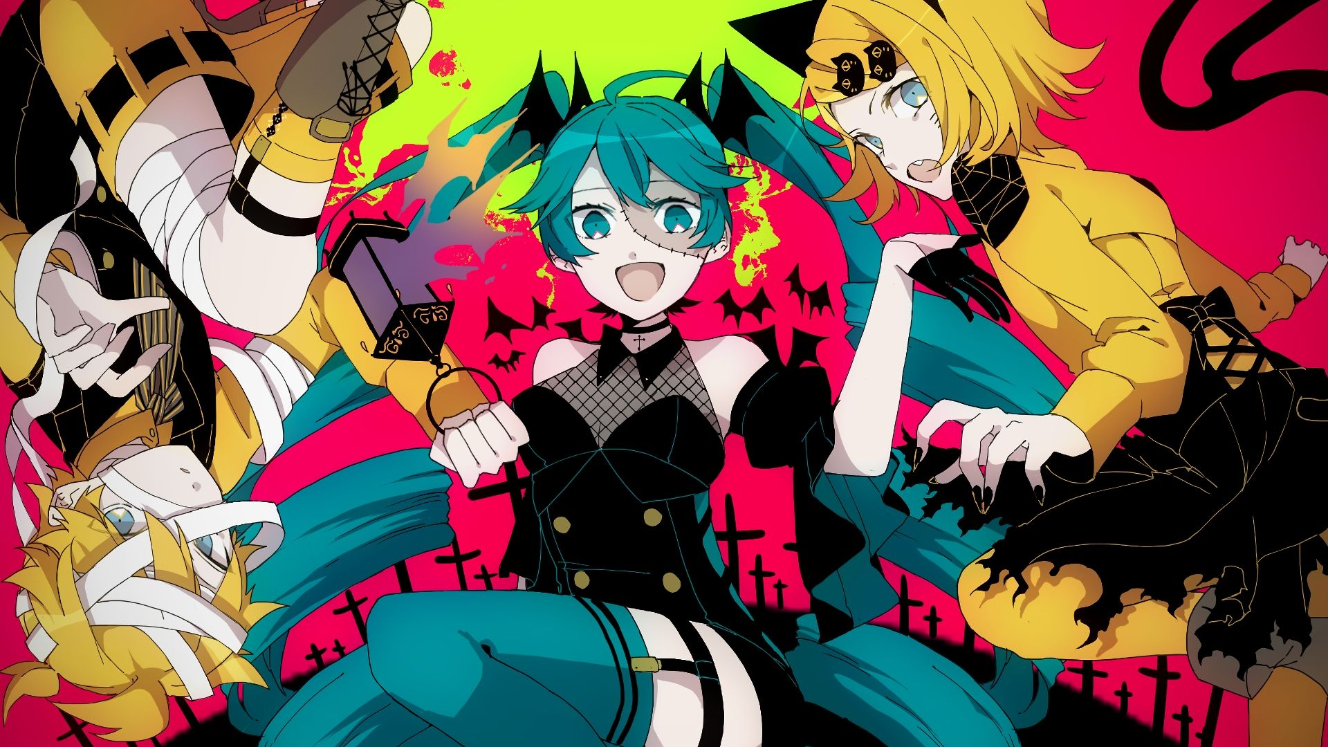 Cute Halloween Wallpapers For Android Desktop Wallpaper Hatsune Miku Kagamine Rin Len