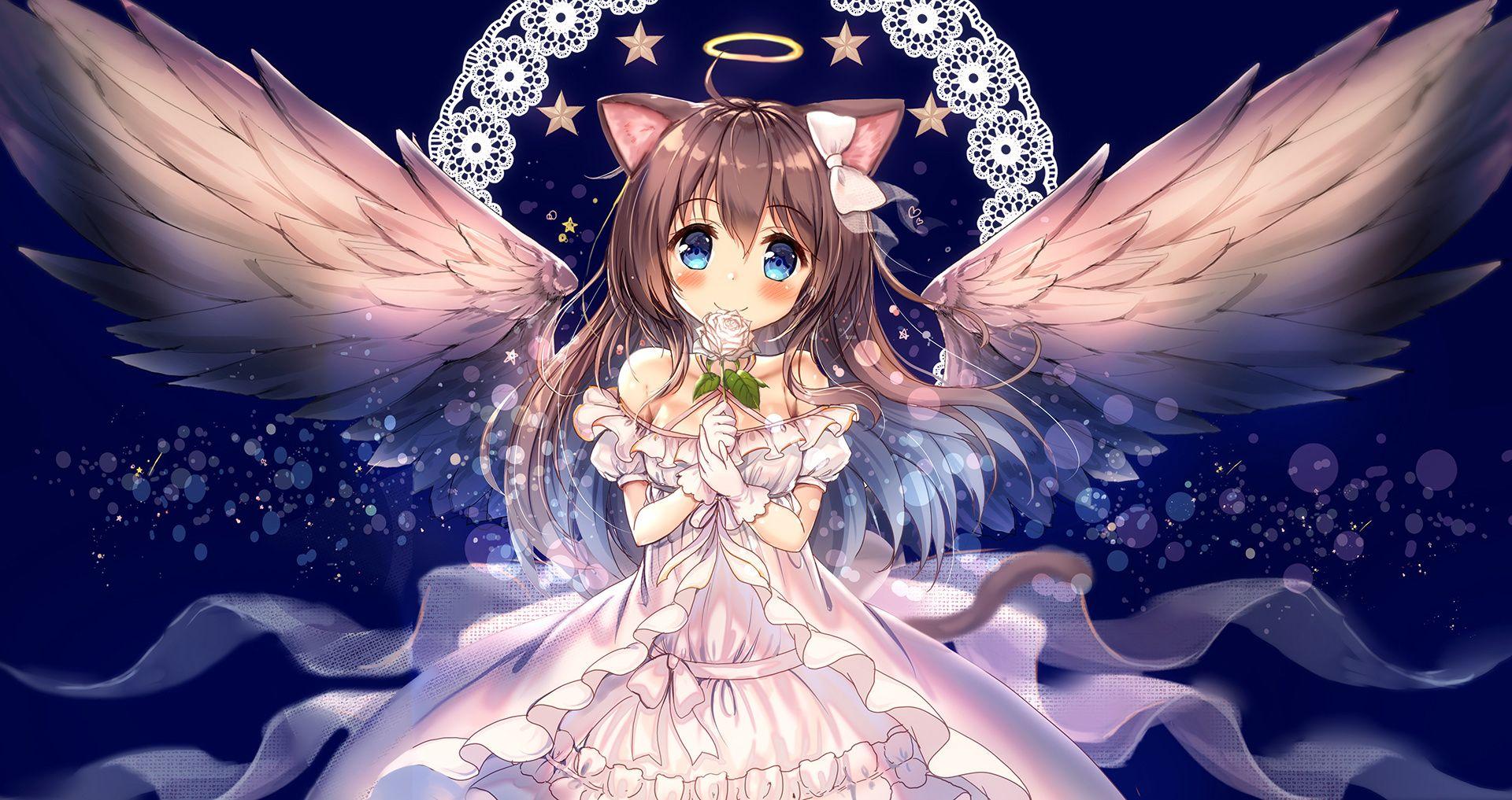Cute Emo Wallpapers For Iphone Desktop Wallpaper Cute Anime Girl Angel Girl Wings Hd
