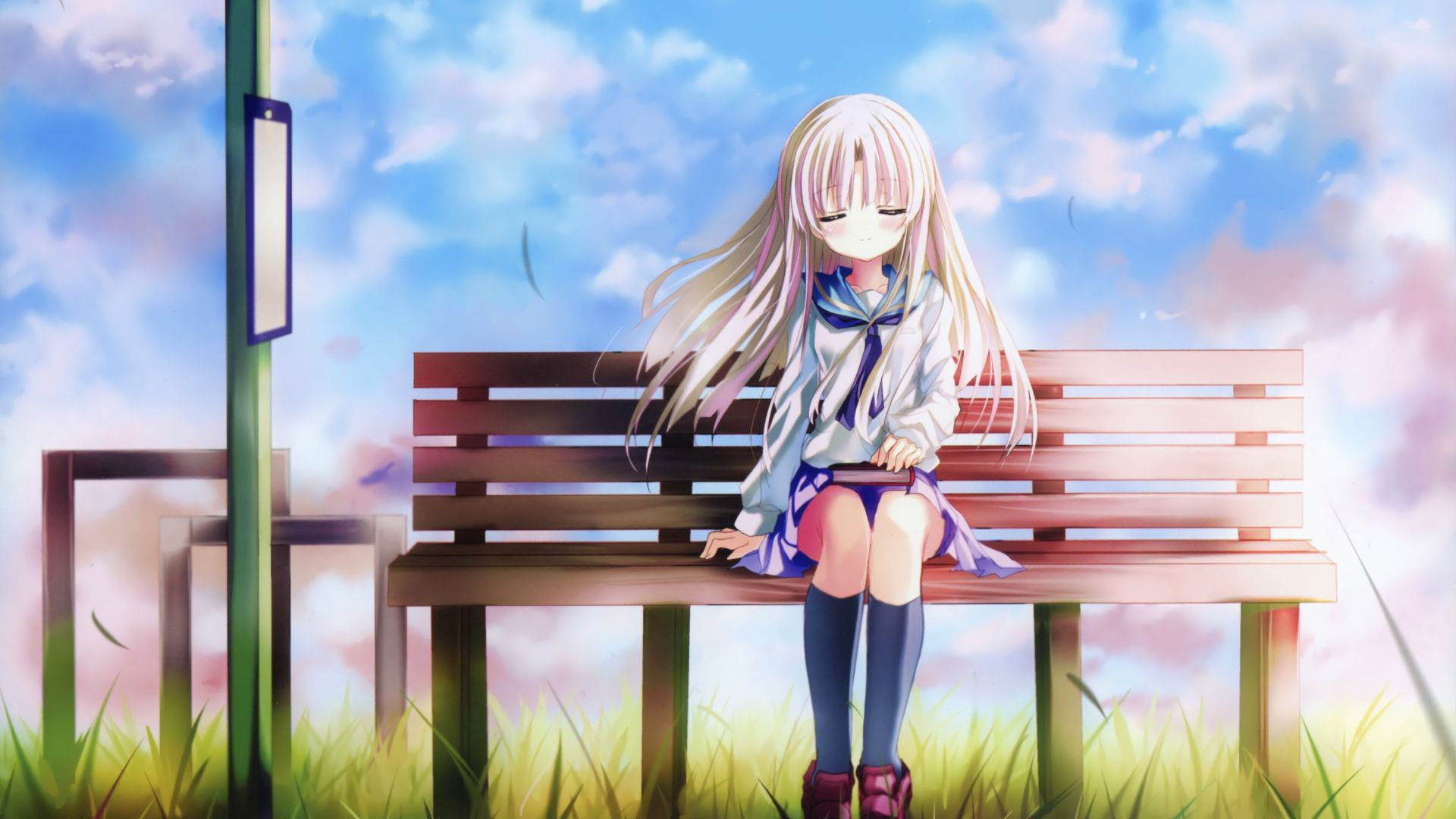Superhero Hd Wallpapers Iphone Desktop Wallpaper Cute Girl Bench Sit Relaxed Anime